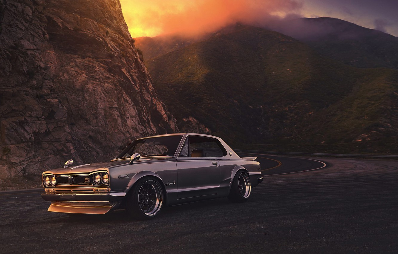 Photo wallpaper Nissan, GTX, Car, 2000, Front, Sunset, Skyline, Old