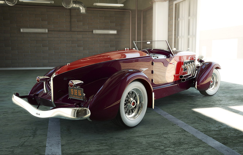 Photo wallpaper retro, garage, convertible, bumper