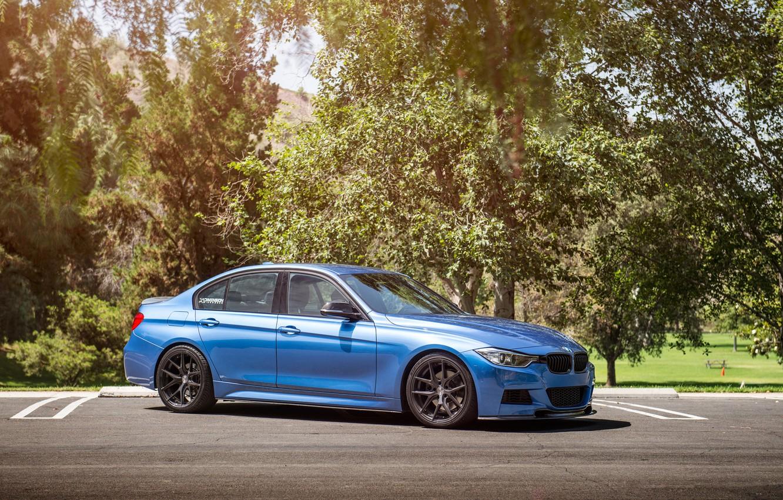 Photo wallpaper BMW, wheels, Vorsteiner, blue, 328i, f30, frontside