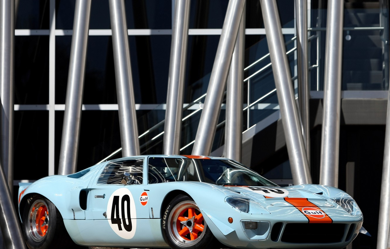 Photo wallpaper Ford, The Mans, GT40, Oil, '1968, Gulf