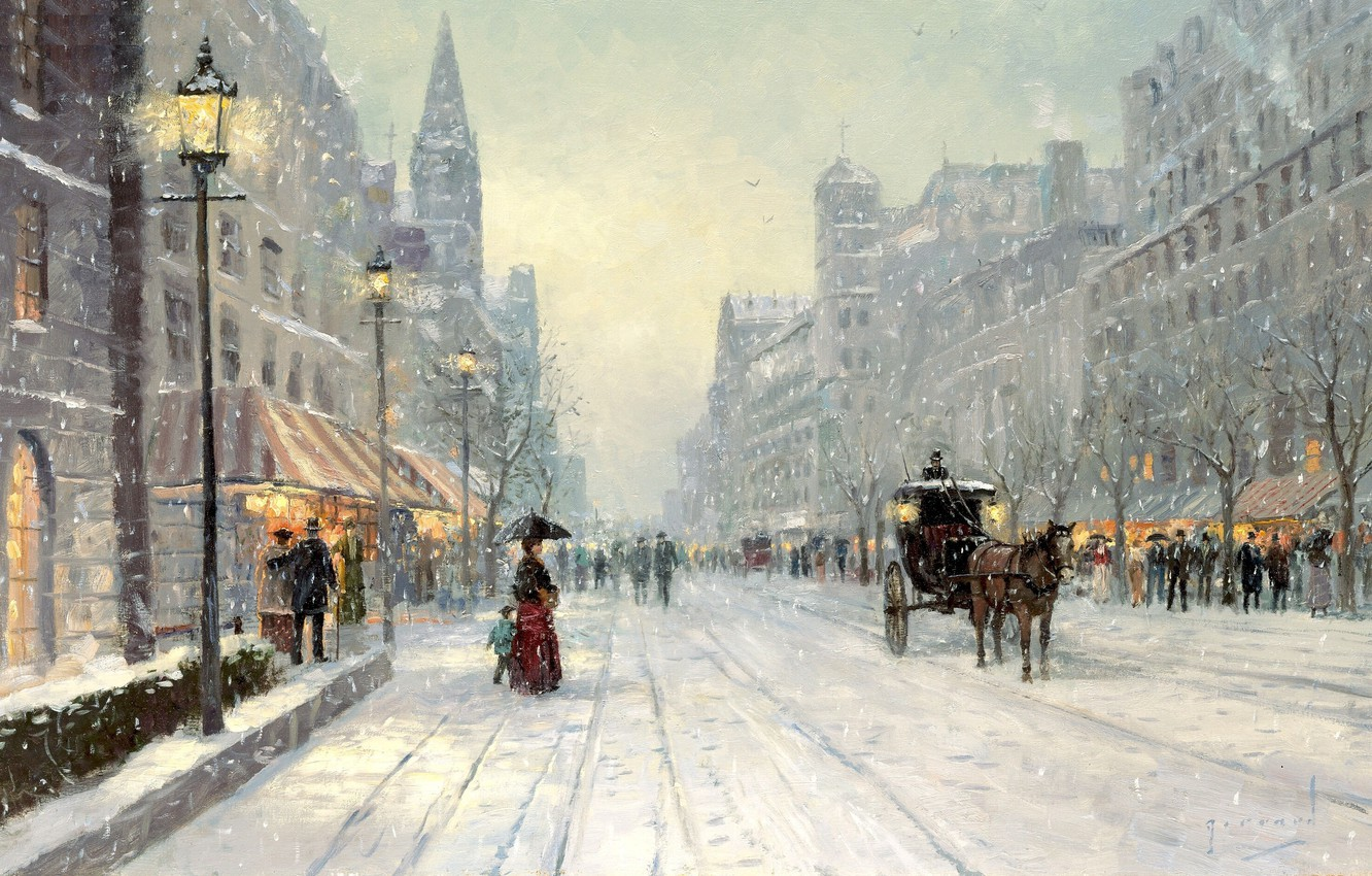Photo wallpaper winter, snow, city, the city, street, horse, Avenue, home, picture, umbrella, large, coach, painting, winter, …