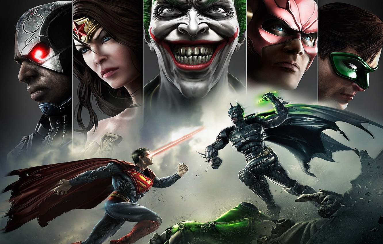 Photo wallpaper smile, batman, superman, joker, green lantern, flash, Wonder women, Injustice: Gods Among Us