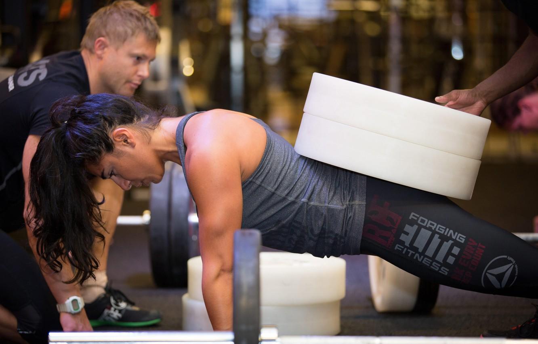 Photo wallpaper women, fitness, weight, crossfit, sportswear, push-ups