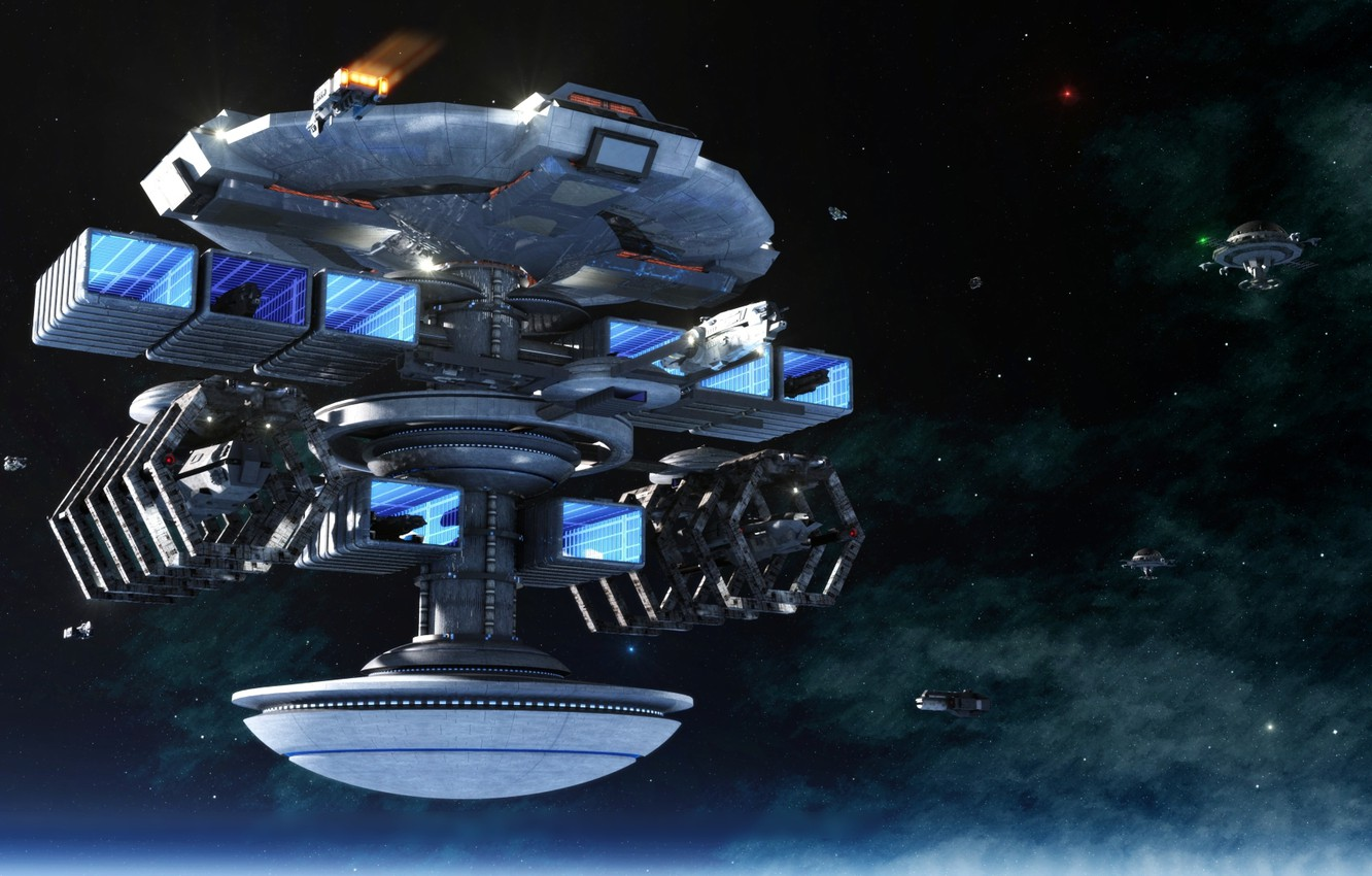Photo wallpaper space, stars, planet, ships, station