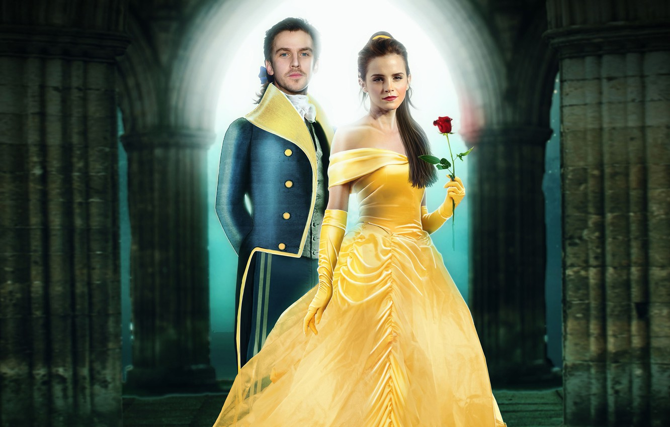Photo wallpaper rose, fantasy, hairstyle, costume, gloves, beauty, Emma Watson, Emma Watson, red, poster, Beauty and the …