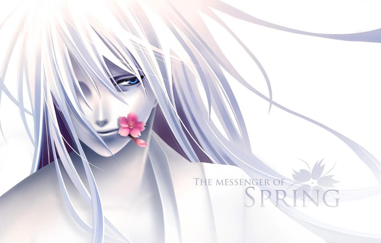 Photo wallpaper flower, anime, guy, the messenger of spring