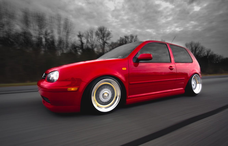 Photo wallpaper red, tuning, speed, volkswagen, red, Golf, golf, Volkswagen, stance, MK4, in motion