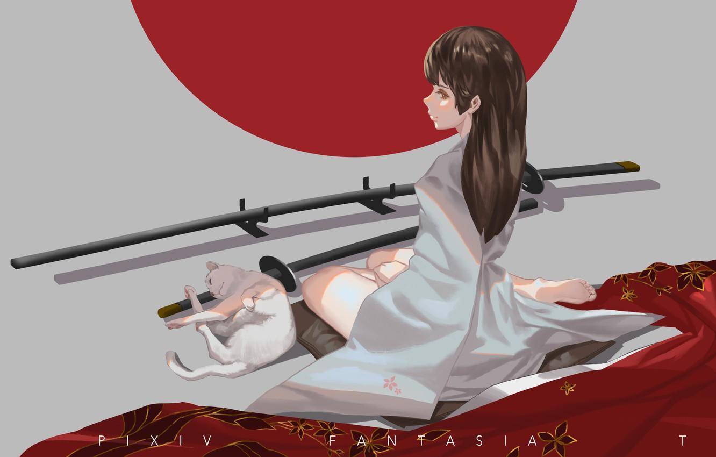 Photo wallpaper cat, girl, katana, art, kimono, sitting, pixiv fantasia, baka