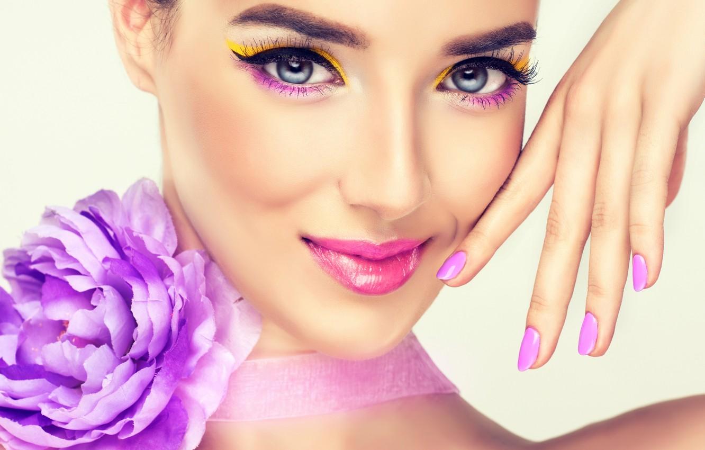 Photo wallpaper flower, look, girl, smile, background, model, hand, makeup, lipstick