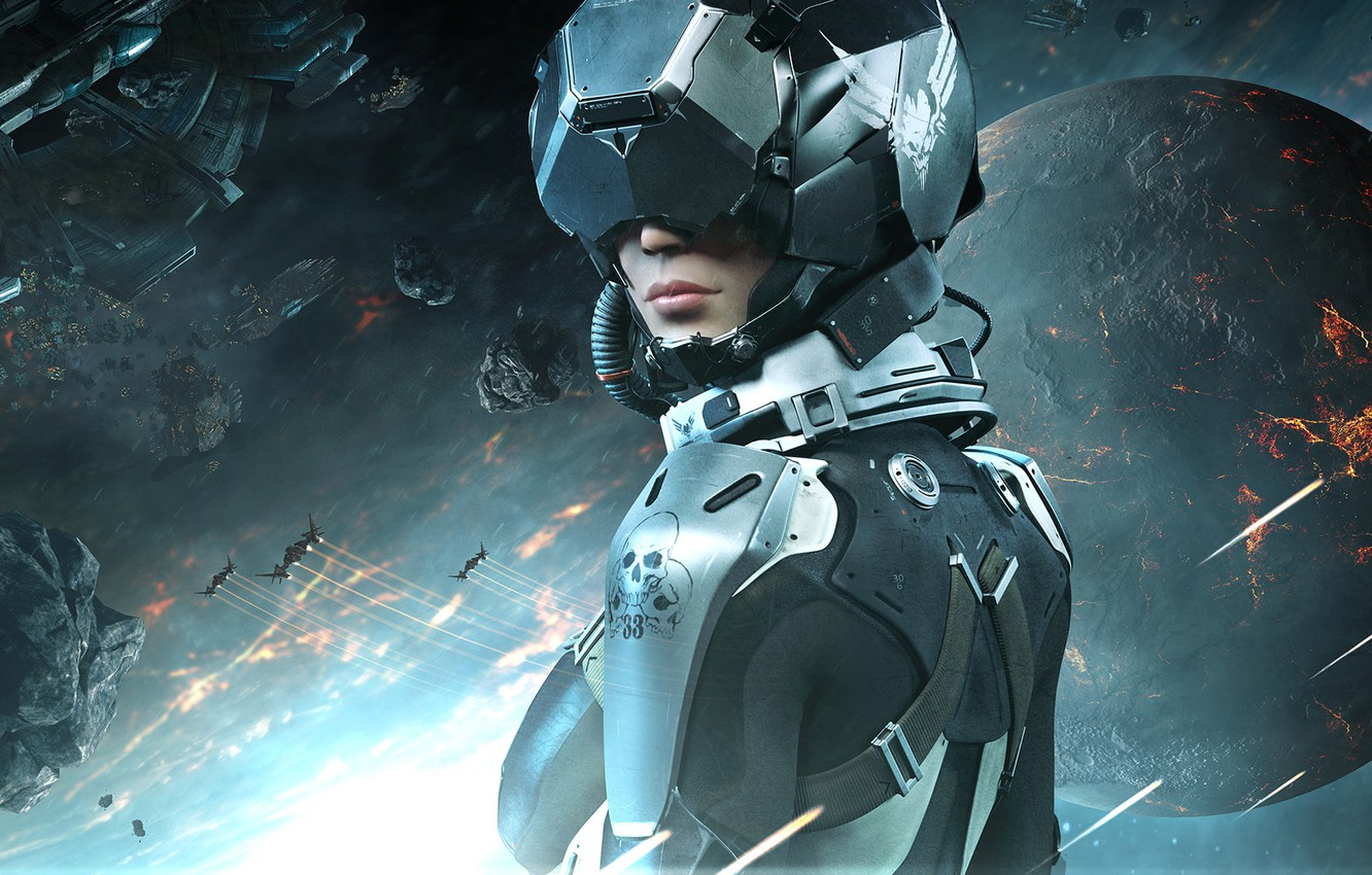 Photo wallpaper Girl, Look, Fire, Planet, Space, Light, Spaceship, The situation, The wreckage, Equipment, CCP, Eve Valkyrie