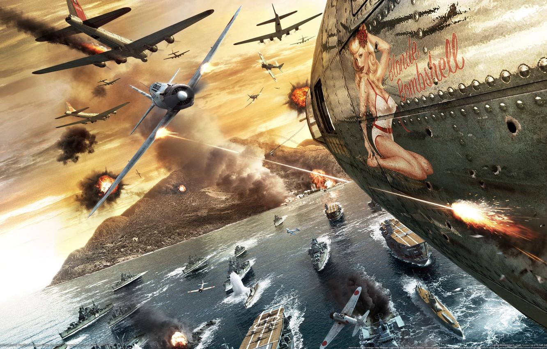 Photo wallpaper the plane, war, Girl, battle