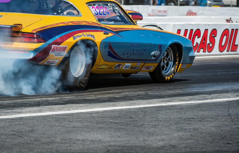 Photo wallpaper race, smoke, wheel, Chevrolet, Camaro, muscle car, drag racing