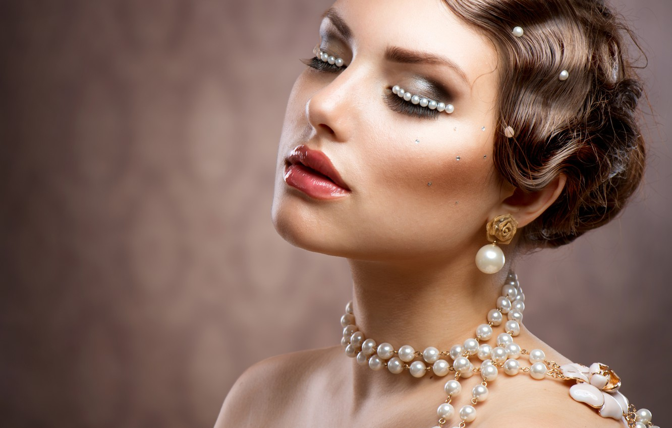 Photo wallpaper girl, makeup, hairstyle, pearl, beads, decoration, Anna Subbotina
