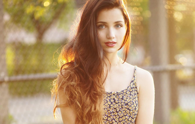 Photo wallpaper look, girl, smile, model, model, brunette, Emily Rudd