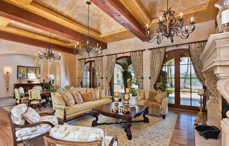 Photo wallpaper wooden, living room, home, luxury