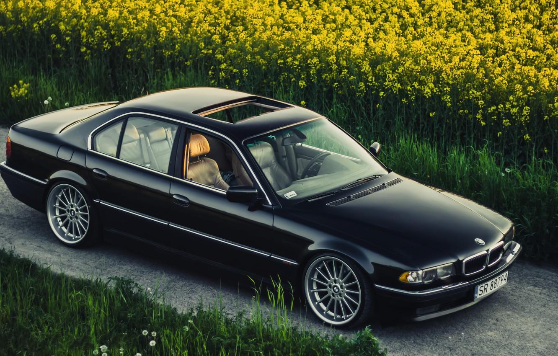 Photo wallpaper BMW, Boomer, BMW, Black, Stance, E38, Bimmer, Rollers, 740iA