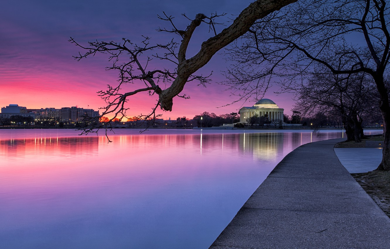 Photo wallpaper the sky, light, trees, sunset, lights, Park, river, the evening, lighting, Washington, USA, USA, blue, …