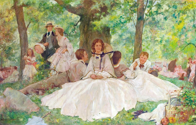 Photo wallpaper summer, the sun, joy, retro, girls, stay, hats, picnic, Thomas Fogarty, boys