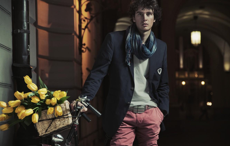 Photo wallpaper flowers, bike, street, basket, scarf, lantern, arch, tulips, guy, twilight, brunette, the Weser