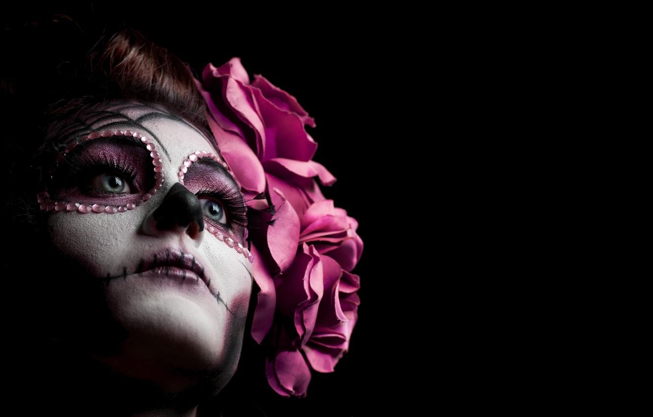 Wallpaper Woman Makeup Pink Sugar Skull Images For Desktop
