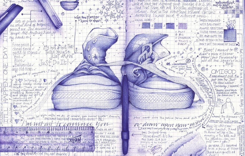 Photo wallpaper creative, figure, sneakers, notebook
