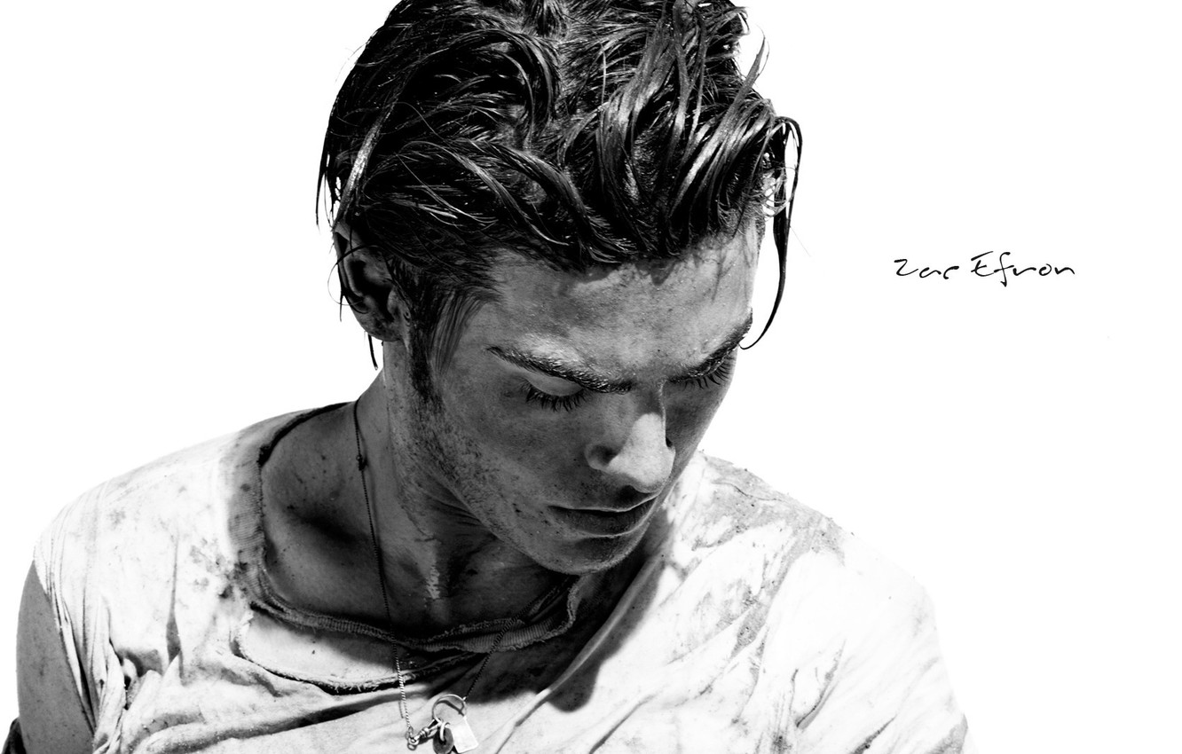 Photo wallpaper look, face, hair, black and white, dirt, black and white, actor, male, guy, actor, Zac …