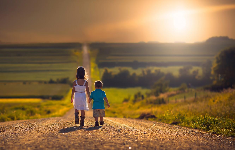 Photo wallpaper road, children, the way, space, girl