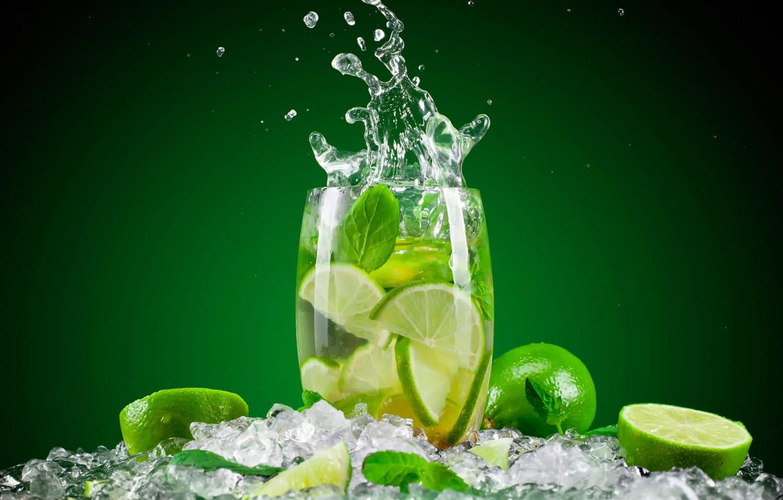 Photo wallpaper water, glass, ice, splash, lime, drink, mint