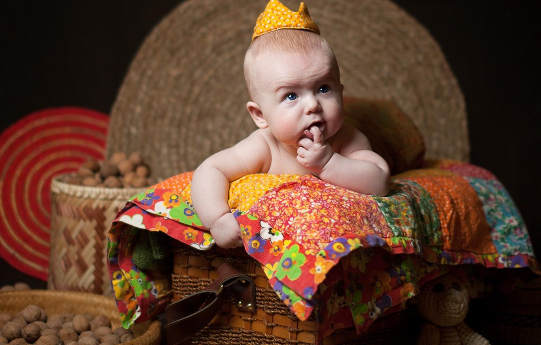 Photo wallpaper children, basket, crown, baby, blanket, nuts, child, Anna Levankova
