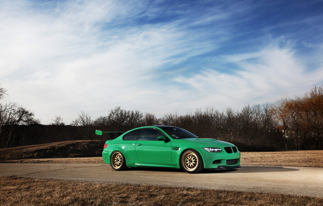 Photo wallpaper road, the sky, clouds, trees, reflection, bmw, BMW, coupe, green, drives, Blik, e92, Golden, wing, …