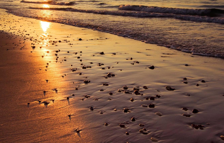 Photo wallpaper sand, sea, beach, the sun, sunset, reflection, wave, England, pierce, Bournemouth