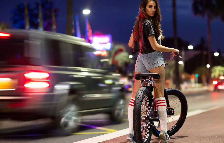 Photo wallpaper ass, look, girl, night, bike, face, street, brunette