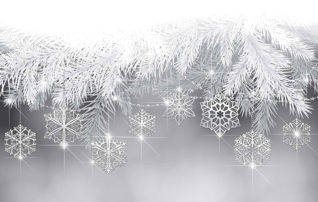 Photo wallpaper snowflakes, holiday, tree, new year, twigs