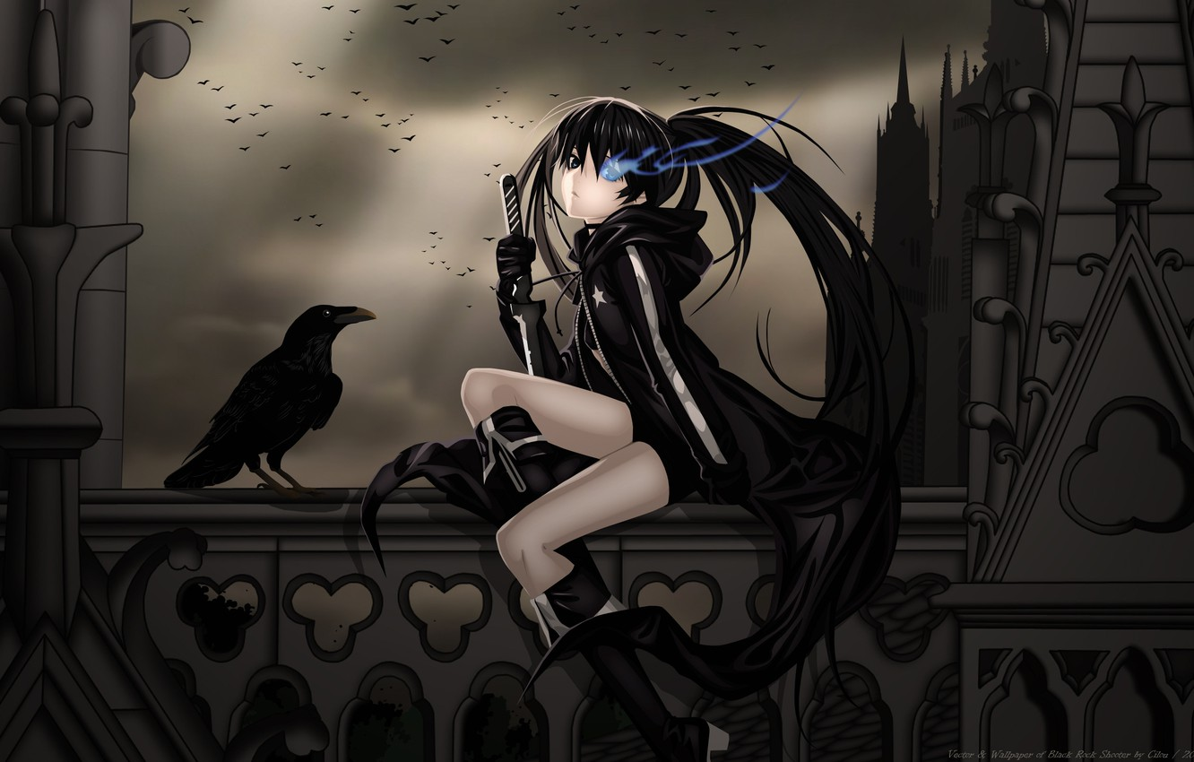 Photo wallpaper girl, night, clouds, castle, darkness, pack, anime, warrior, balcony, Raven, black rock shooter, catch the …