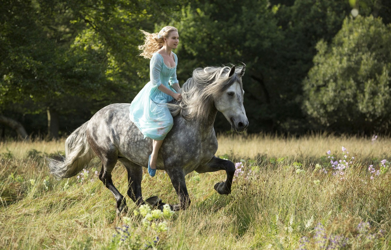 Photo wallpaper cinema, grass, Disney, flower, dress, trees, bushes, movie, woods, animal, horse, blonde, film, princess, Cinderella, …