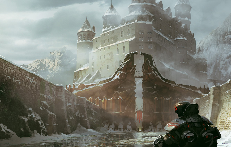 Photo wallpaper ice, water, snow, the city, castle, rocks, people, art, armor, back