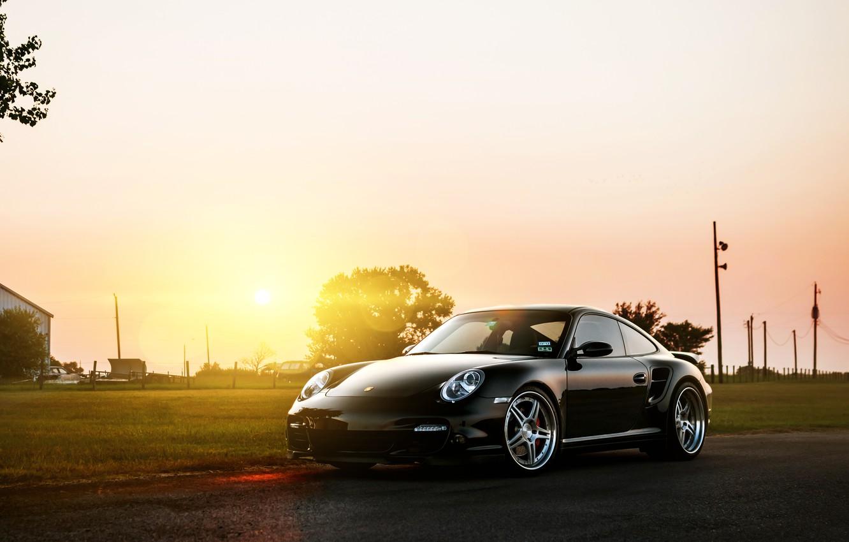 Photo wallpaper the sun, black, 911, 997, Porsche, Porsche, black, Blik, front, Turbo