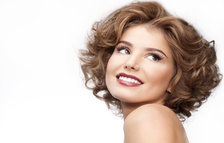 Photo wallpaper eyes, girl, makeup, hairstyle, lips, white background