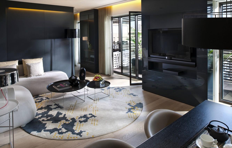 Photo wallpaper design, style, table, lamp, room, sofa, black, interior, TV, balcony, fruit, beige, living room, tables