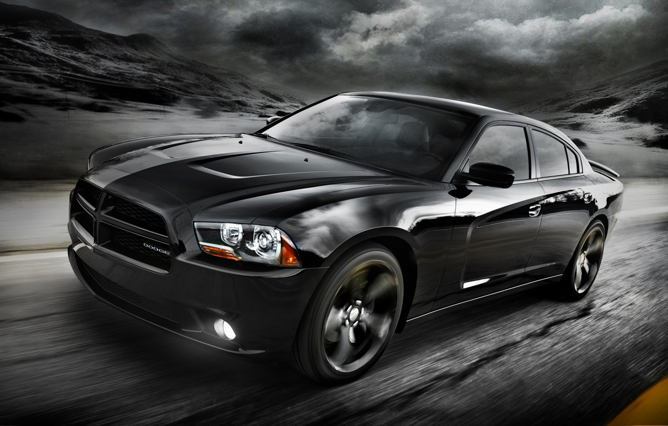 Photo wallpaper road, the sky, clouds, black, 2012, Dodge, dodge, charger, the front, Blacktop, charger, version, special, …