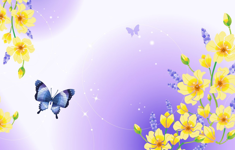 Photo wallpaper flowers, nature, butterfly, Shine, plants, kidney, purple background