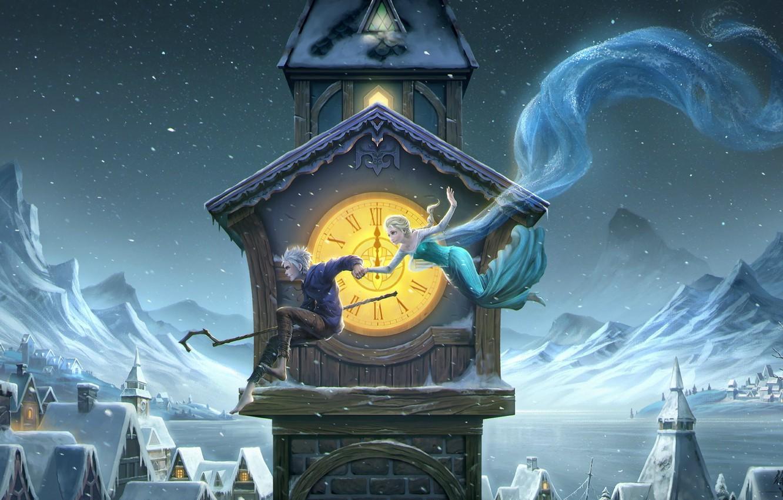 Photo wallpaper winter, girl, night, tower, guy, art, frozen, midnight, Rise of the Guardians, Jack Frost, elsa