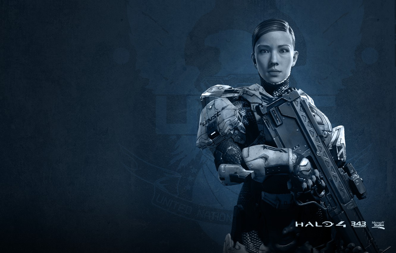 Photo wallpaper girl, soldiers, rifle, the suit, Halo 4