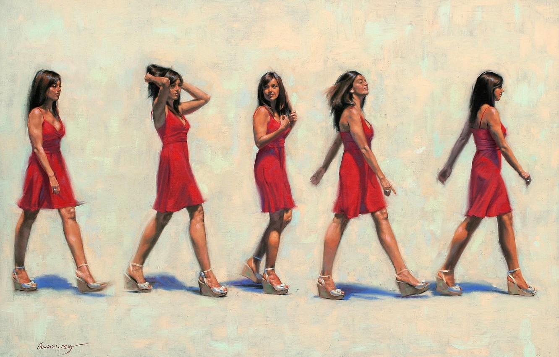 Photo wallpaper girl, red, picture, dress, brunette, art, gait, Gavin Glakas