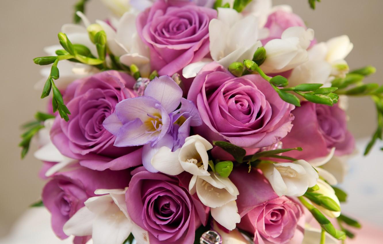Photo wallpaper purple, flowers, roses, bouquet, roses, Bouquet, Violet Flowers