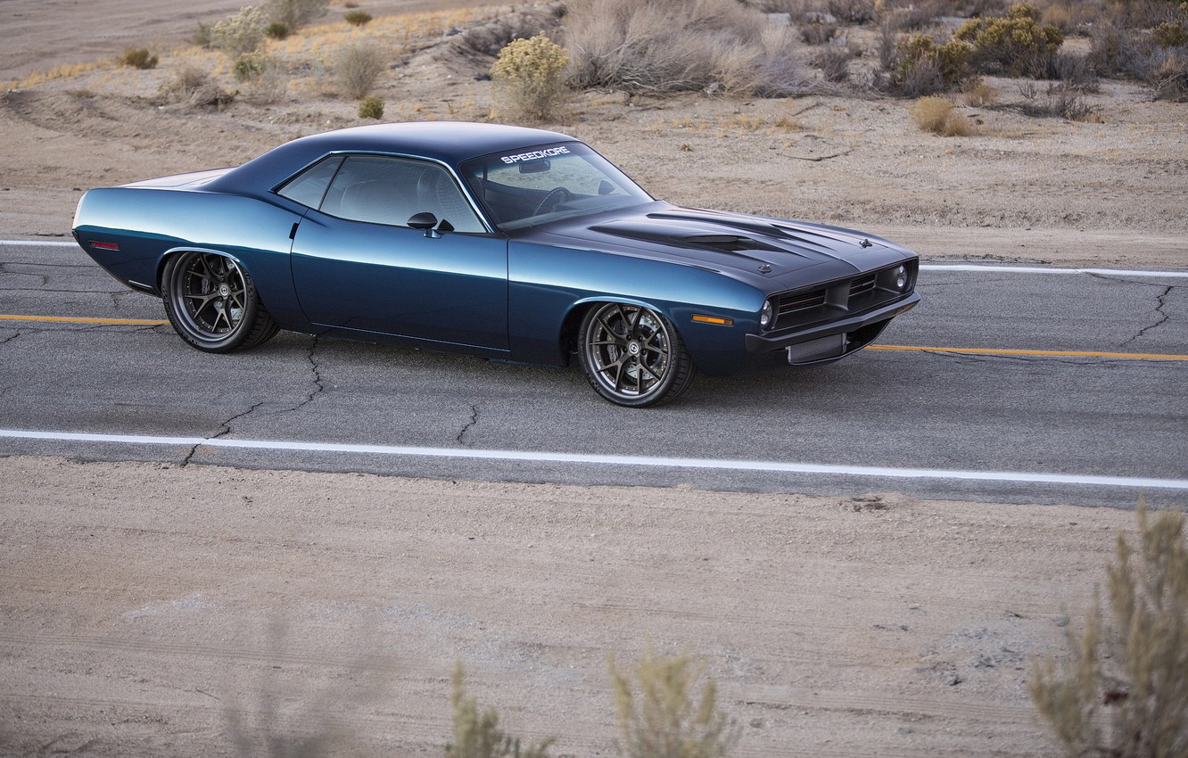 Photo wallpaper Plymouth, Road, Cuda, Speedkore