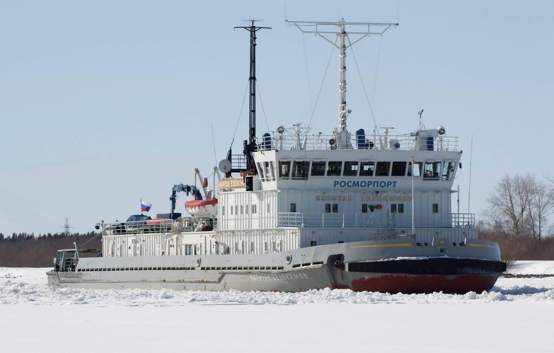 Photo wallpaper ice, winter, ship, ice-breaker, rosmorport, captain evdokimov