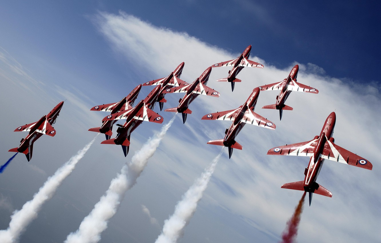 Photo wallpaper Flying, Red Arrows, BaE Hawk, Aerobatic, Formation Flying