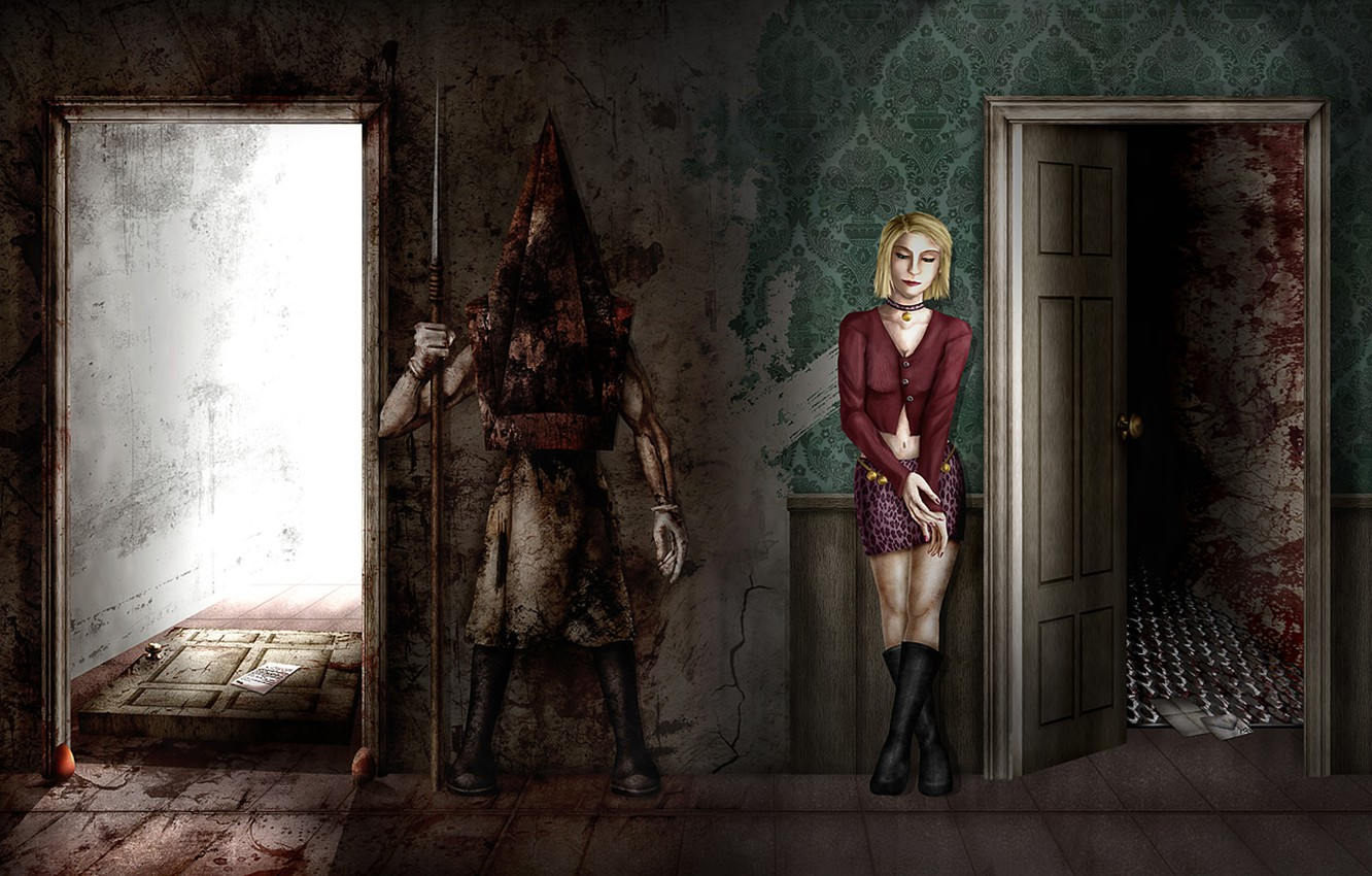 Wallpaper Girl Wall Monster Door Art Maria Room The Room Maria Silent Hill 2 Pyramid Head Pyramid Head Images For Desktop Section Igry Download