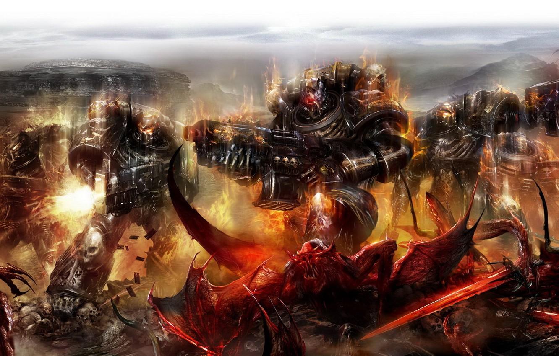 Photo wallpaper weapons, fire, monsters, Warhammer, landing, shots, power armor